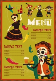 mexico menu template traditional costume scary masks decor