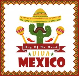 mexico poster cactus sombrero moustache chili icons decor