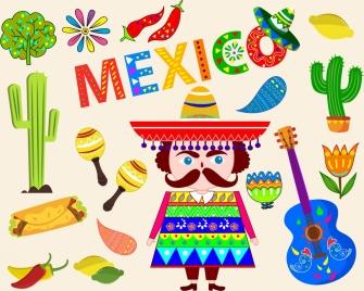 mexico tradition design elements various multicolored symbols