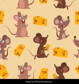 mice cheese pattern cute cartoon characters decor