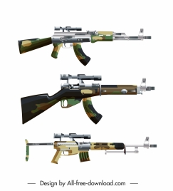 military weapons icons contemporary guns sketch