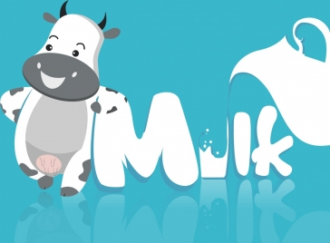 milk advertisement cow text decoration shiny colored style