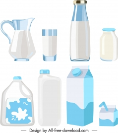milk container icons shiny bright colored sketch