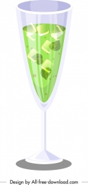 mint cocktail glass icon shiny 3d green design