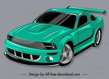 modern car icon green decor 3d handdrawn sketch