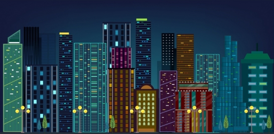 modern city drawing multicolored high building icons
