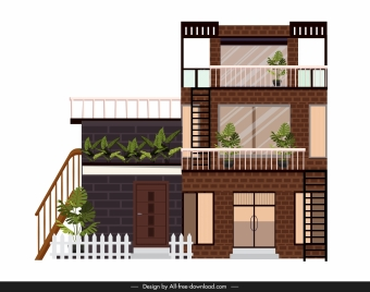 modern house template three storeys sketch