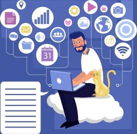modern lifestyle background man laptop internet icons decor