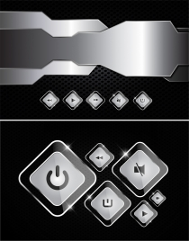 modern technology background shiny silver button decor