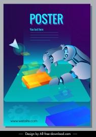 modern technology poster robotic hand cubes 3d sketch