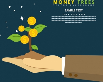 money investment banner coins tree icon design