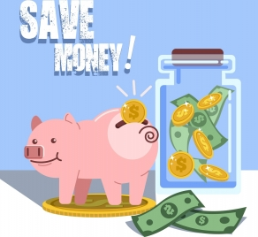 money savings banner piggy bank money jar icons