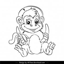 monkey icon cute cartoon sketch back white design