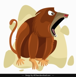 monkey painting aggressive emotion cartoon character sketch