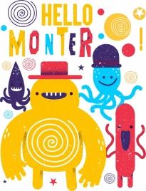 monster background cute cartoon icons retro design