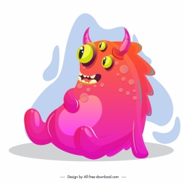 monster icon fat horned multieyes sketch cartoon character