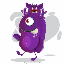 monster icon violet decor funny cartoon character sketch
