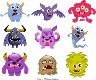 monster icons collection funny cartoon characters sketch
