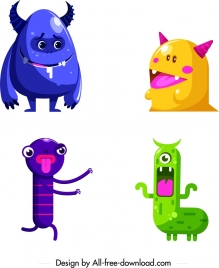 monster icons colored cartoon design funny characters