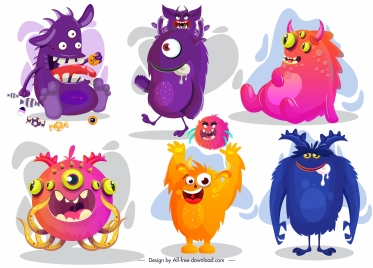 monster icons funny cartoon characters