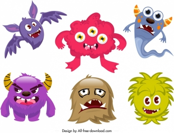 monster icons funny colored cartoon characters sketch