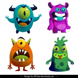 monster icons funny design colorful cartoon characters sketch