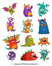 monsters icons funny cute cartoon characters colorful design