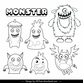 monsters icons funny design black white handdrawn cartoon