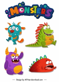 monsters icons scary animals sketch funny cartoon characters