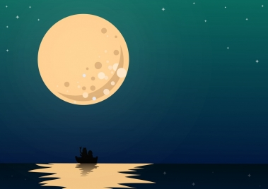 moonlight background round moon sea icons colored cartoon