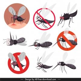 mosquito prevention icons funny cartoon sketch