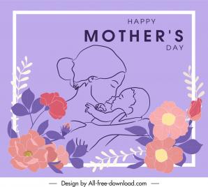 mother day banner handdrawn mum kid floral decor