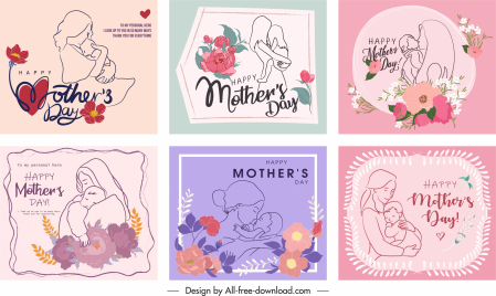 mother day card templates cute vintage handdrawn botanical