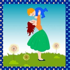 motherhood background cute cartoon style