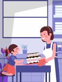 motherhood drawing mother daughter cake icons cartoon design