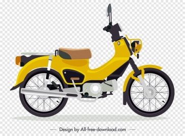 motorbike advertising classical yellow sketch