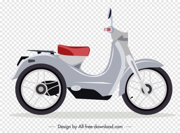 motorbike icon classical decor grey sketch