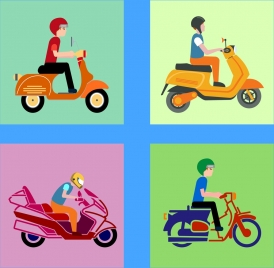 motorbike icons collection various flat types isolation