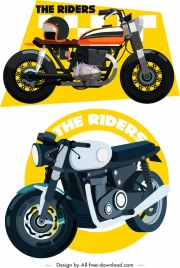 motorbike race banners classical colored 3d design
