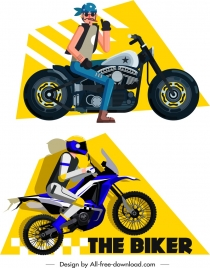 motorbike rider icons colored cartoon sketch