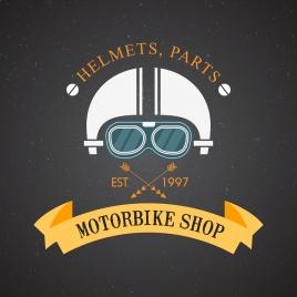 motorbike shop logo helmet ribbon arrow icons decor