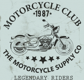 motorcycle club banner vintage design black white ornament