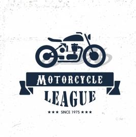 motorcycle league banner motorbike icon retro ornament