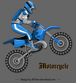 motorcycle racer icon dynamic design colored flat