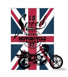 motorcycle show banner design on flag background