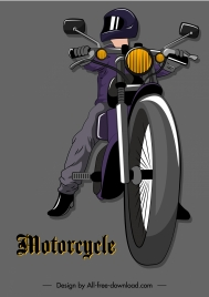 motorcyclist icon colored 3d sketch