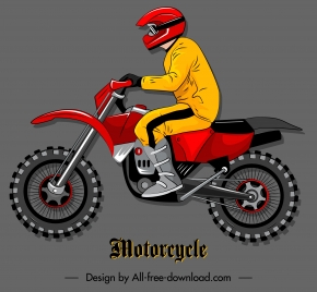 motorcyclist icon modern cartoon sketch colorful flat