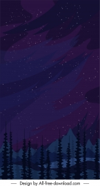 mountain background night sky sketch dark classic