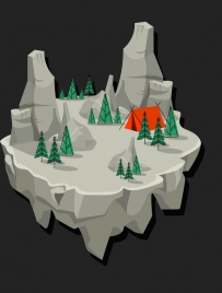 mountain camp background rocky land icon 3d decor