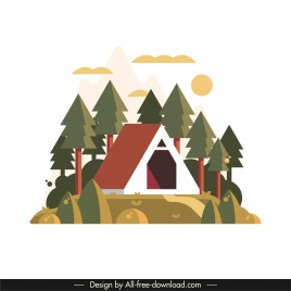 mountain camping background colorful classic design